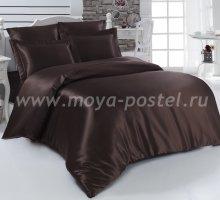 """Постельное белье шелк """"KARNA"""" ARIN (Евро) 50x70*2 70x70*2 (коричневое) в интернет-магазине Моя постель"""