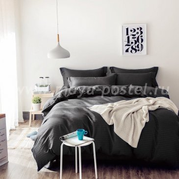 Постельное белье Однотонный страйп-сатин на резинке CTR002 в интернет-магазине Моя постель