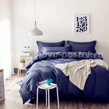 Постельное белье Однотонный страйп-сатин на резинке CTR006 в интернет-магазине Моя постель