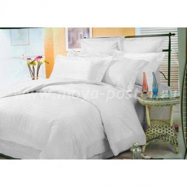 Страйп-полисатин белый   (Евро) в интернет-магазине Моя постель