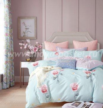 Полуторное постельное белье Twill (розы на голубом) в интернет-магазине Моя постель