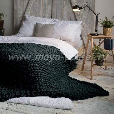 Плед из толстой пряжи Hygge Dome (100% шерсть) 90х150 Черный в каталоге интернет-магазина Моя постель