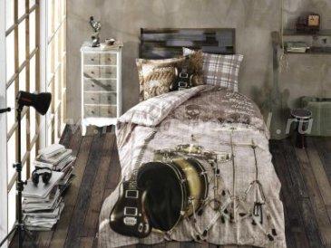 """КПБ 1,5 сп. (Евро) поплин """"ROCK MUSIC"""", коричневый, 100% Хлопок в интернет-магазине Моя постель"""