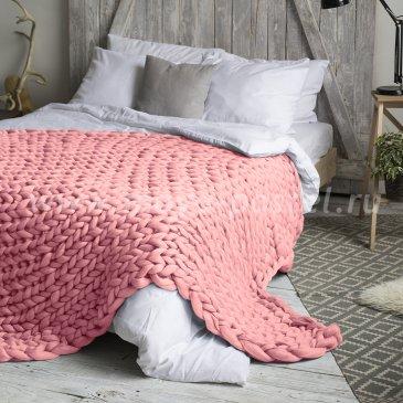Плед из толстой пряжи Hygge Dome (100% шерсть) 140х200 Светло-Розовый в каталоге интернет-магазина Моя постель