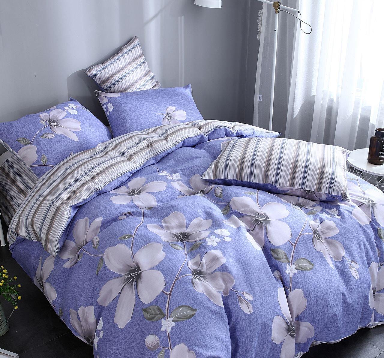 d38de867f416 Евро комплект синего постельного белья из сатина с цветами C265 (70*70) в