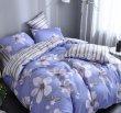 Полутороспальный комплект синего постельного белья из сатина с цветами C265 (50*70) в интернет-магазине Моя постель - Фото 2